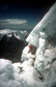 Norman tackles a vast ice wall at Altitude in South America.